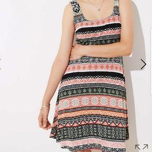 Loft   Riverwalk Flare Print Strapless Midi Dress